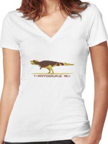 Pixel Tyrannosaurus Women's Fitted V-Neck T-Shirt