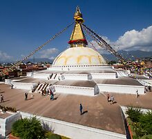 Stupa in Boudhanath, Kathmandu, Nepal by journeysincolor