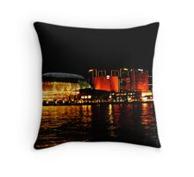 Singapore Central Business District Night Scene Throw Pillow