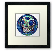 psychedelic psychic cat skull Framed Print