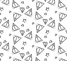 Black on White Deathly Hallows and Stars Pattern by steffirae