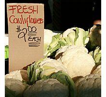 Fresh Cauliflowers Photographic Print