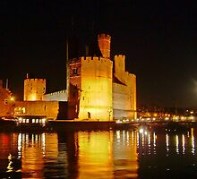 Caernarfon Castle at Night by AnnDixon