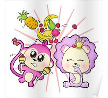 Cute baby zoo animal monkey playing maracas and dancing with lion friend Poster