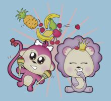 Cute baby zoo animal monkey playing maracas and dancing with lion friend Kids Clothes