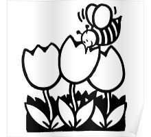 Bumble Bee and Flowers Poster