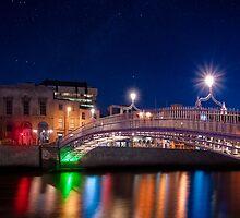 Dublin Ha'penny Bridge - Irish Starry Night by Mark Tisdale