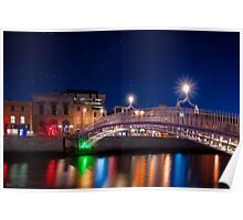 Dublin Ha'penny Bridge - Irish Starry Night Poster