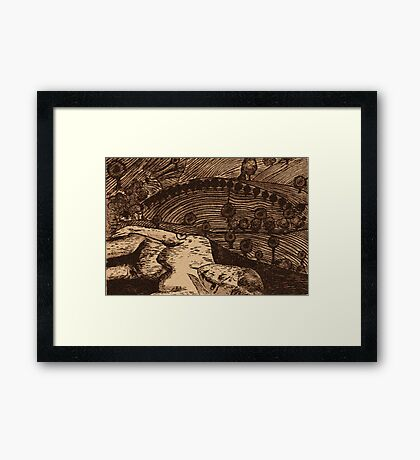 LLAL - Digital printmaking of original etching. Framed Print