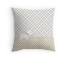 Westie Tartan and Polka Dots Throw Pillow Neutral Colors Throw Pillow