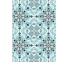 Soft Mint & Teal Detailed Lace Doodle Pattern Photographic Print