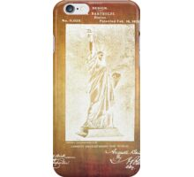 Statue If Liberty Original Patent By Bartholdi 1879 iPhone Case/Skin