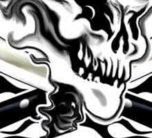 Chef Skull 10: Culinary Genius 3 black flames Sticker