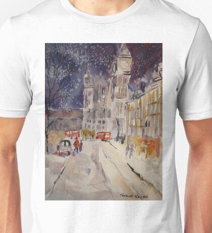 Clock Tower At Night - Street Scenes Art Gallery Unisex T-Shirt