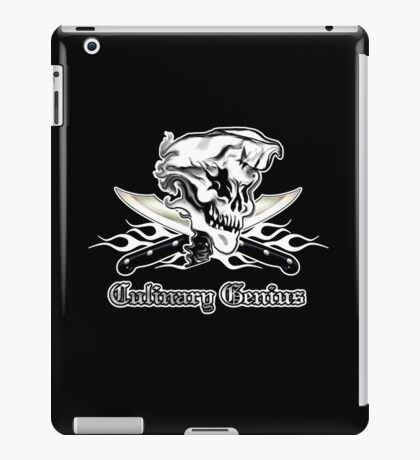 Chef Skull 10: Culinary Genius 3 white flames iPad Case/Skin