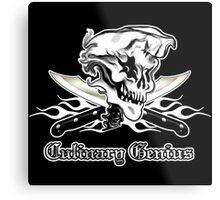 Chef Skull 10: Culinary Genius 3 white flames Metal Print