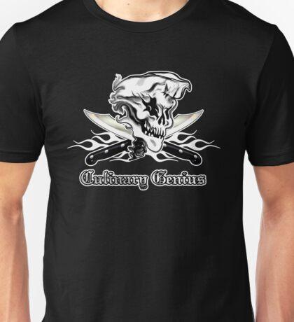 Chef Skull 10: Culinary Genius 3 white flames Unisex T-Shirt