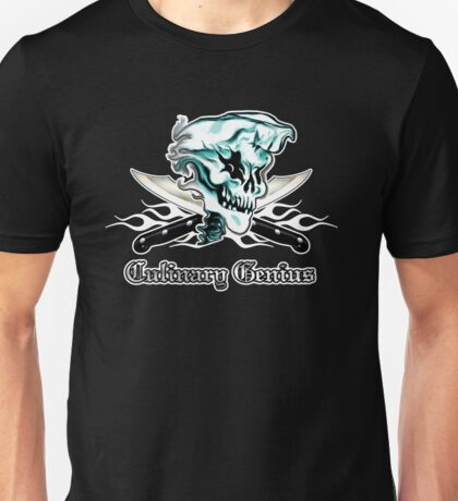 Chef Skull 11: Culinary Genius 3 white flames Unisex T-Shirt
