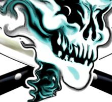 Chef Skull 11: Culinary Genius 3 white flames Sticker