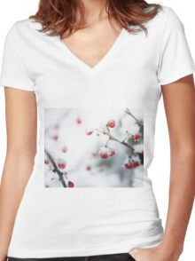 Snowy Berries Women's Fitted V-Neck T-Shirt
