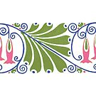 Art Nouveau mug - Fuchia by © Kira Bodensted