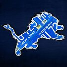 Detroit Lions Vintage Logo Recycled License Plate Art by designturnpike