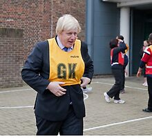 Boris Johnson plays netball by Keith Larby