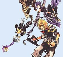 Kingdom Heart Birth by Sleep - Terra, Aqua, Ventus and Mickey Mouse by peetamark
