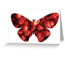 Flying strawberries Greeting Card
