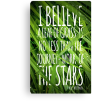 Walt Whitman Quote Poster With Grass Canvas Print