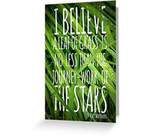 Walt Whitman Quote Poster With Grass Greeting Card