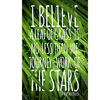 Walt Whitman Quote Poster With Grass Photographic Print