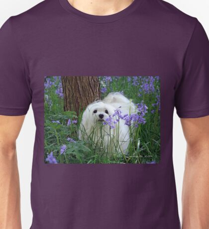 Snowdrop the Maltese -  in the Bluebell Woods Unisex T-Shirt