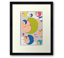 Synchronised Neon Swimmers Framed Print
