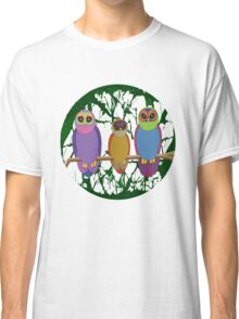 3 Cute Angry Owls on a Branch Classic T-Shirt