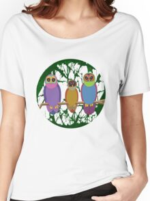 3 Cute Angry Owls on a Branch Women's Relaxed Fit T-Shirt