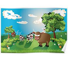 Cows and Bull on Lawn Poster
