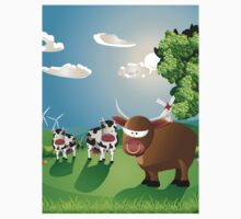 Cows and Bull on Lawn Kids Clothes