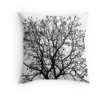 B&W Autumn Tree Throw Pillow