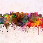 Oakland skyline in watercolor background by paulrommer