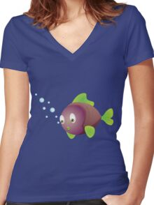 Colorful fish 3 Women's Fitted V-Neck T-Shirt