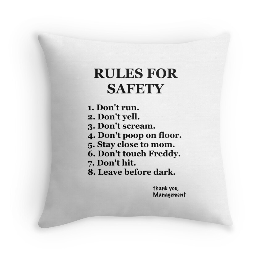 """FNaF-Rules"""" Throw Pillows by Mbublitz 