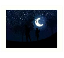 Walking at night Art Print