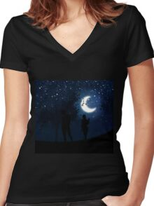Walking at night Women's Fitted V-Neck T-Shirt
