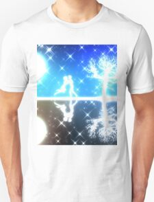 White silhouettes on colorful background Unisex T-Shirt