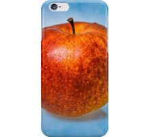 Red apple fruit against light blue background iPhone Case/Skin