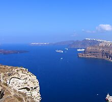 Santorini Caldera from near Akrotiri by Tom Gomez