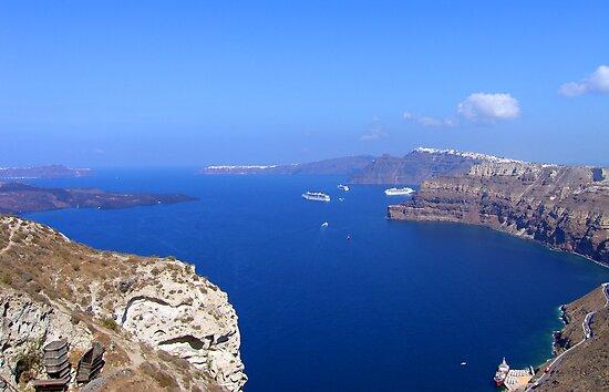 Santorini Caldera from near Akrotiri by Tom Gomez