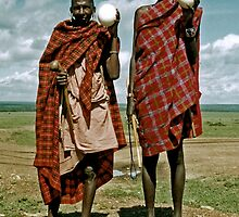 Men with ostrich eggs by elleboitse