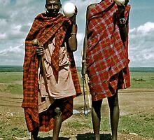 Men with ostrich eggs by elleboitse